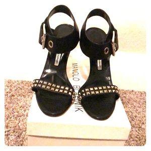 Manolo Blahnik koyoro black studded sandals. NWT